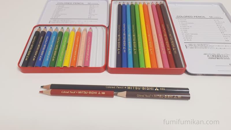 一般的な色鉛筆じゃミニ色鉛筆2本分