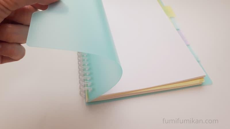ダイソー インデックス付きノートの表紙が柔らかい