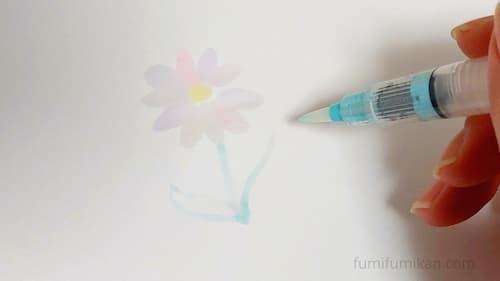 水筆に色を付けて書いてみた